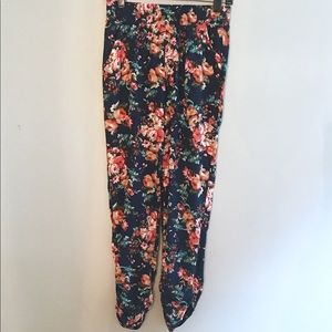 Socialite Floral Rayon Pants XS Blue Red Orange